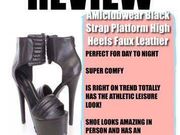 SHOE REVIEW:Black Strap Platform High Heels Faux Leather