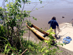 Clark gathers the rope from Knotty the Canoe to set out for the Missouri River. Clark requeted the Missouri River and paddled at least once a week on the River.