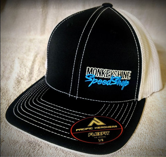 Fitted - Black with white back and blue stitching