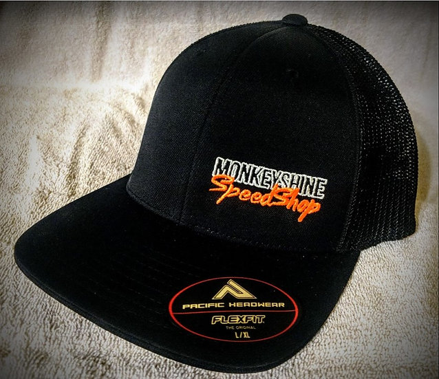 Fitted - all black with orange stitching