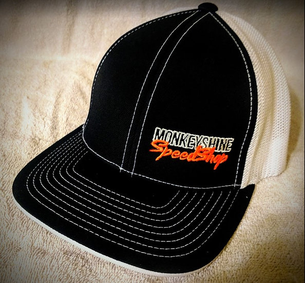 Fitted - Black front, white back with Orange stitching