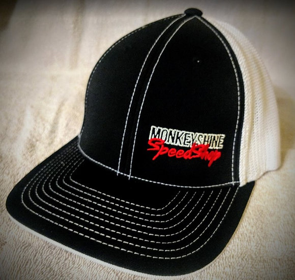 Fitted - Black front white back with red stitching