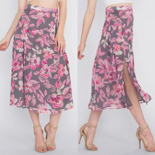 Grey Pink Lost In Paradise Skirt
