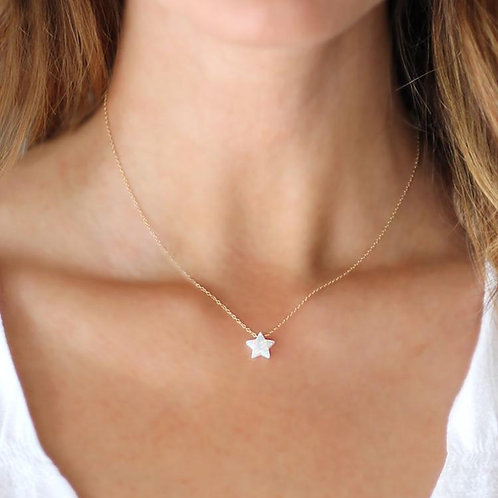 Opal Star Necklace Gold