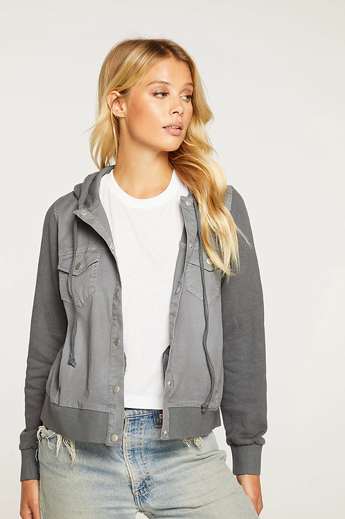 STRETCH TWILL HOODED ZIP UP RIB CONTRAST JACKET IN GREY