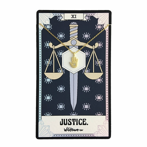 Tarot Card Necklace - Justice Hand