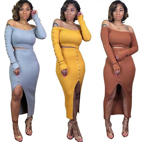 Knitted 2 piece Women Bodycon Set