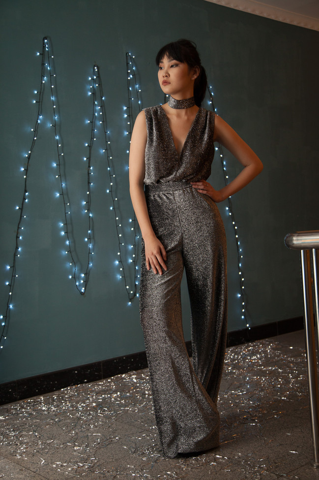 Jumpsuit with wide pants