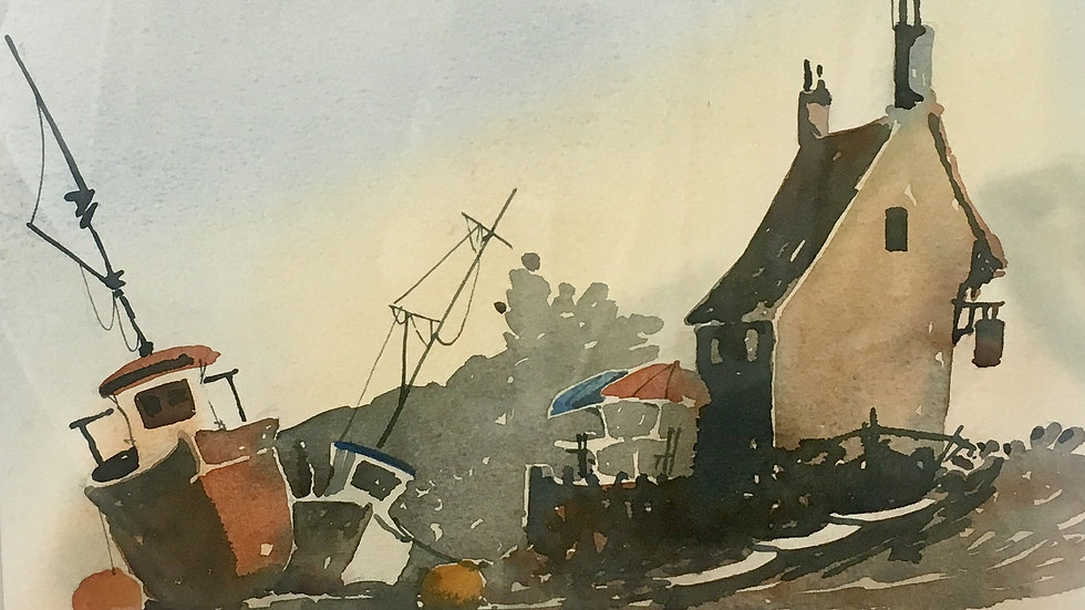BOATS AT REST Original watercolour by Artist Mike Jackson