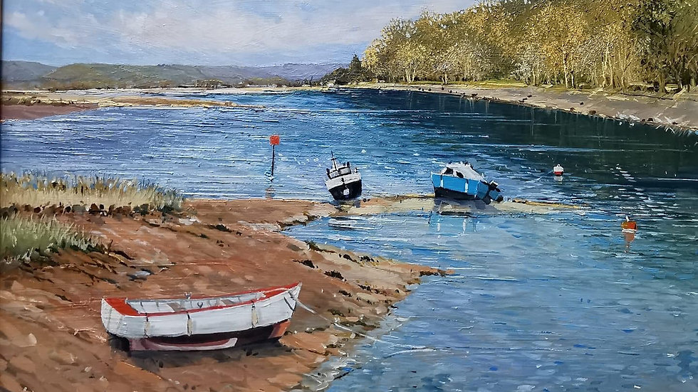 WAITING FOR THE RISING TIDE Artist Barry Seaforth Original Oil
