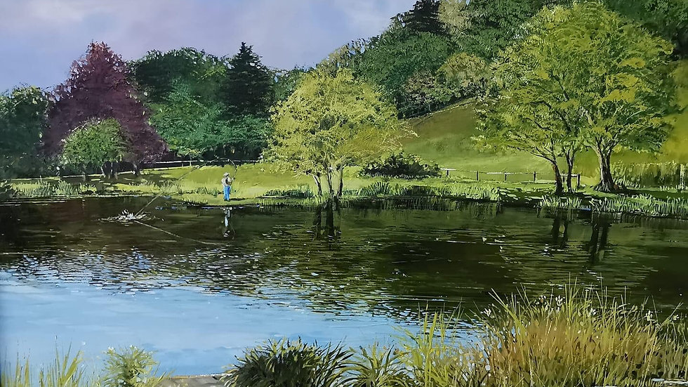 FLY FISHING AT AMHERST LODGE NR UPLYME Oil Artist Barry Seaforth