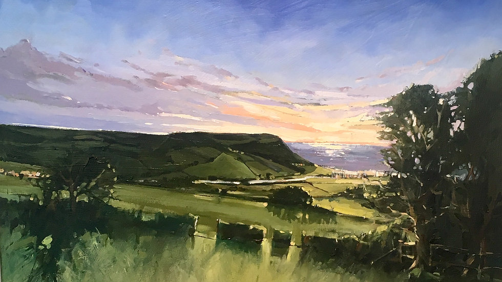 VIEW TO AXMOUTH Original oil painting by Artist Barry Seaforth