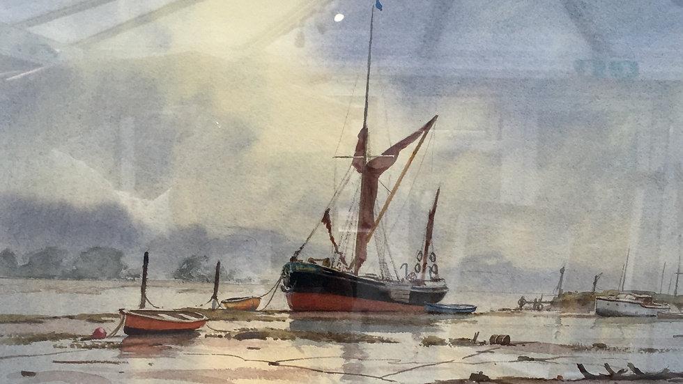 ON THE MEDWAY Original watercolour: Artist Denis Pannett