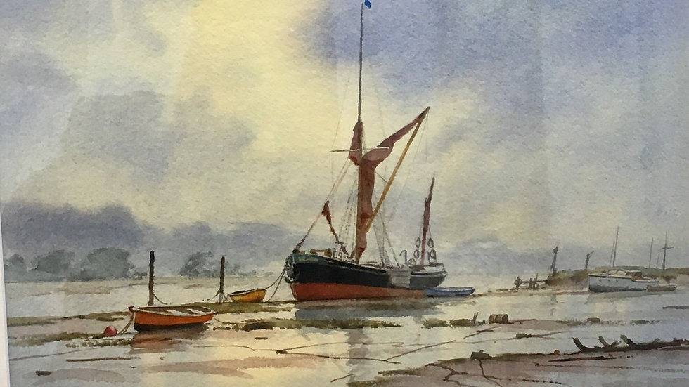 MOORING ON THE MEDWAY Original watercolour Artist: Denis Pannett