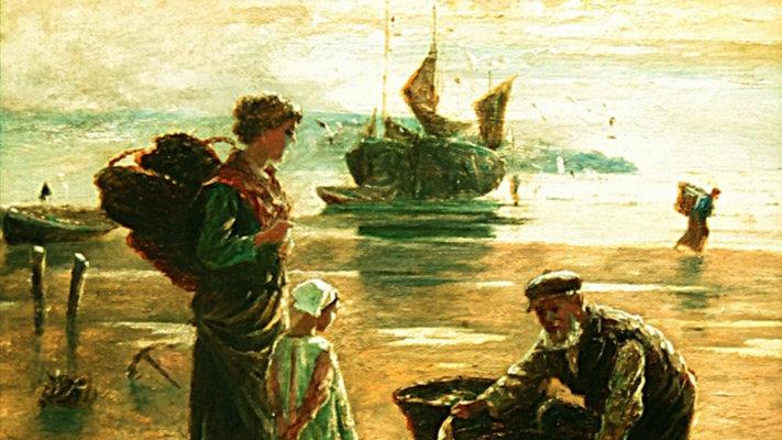 THE FISHERMANS RETURN Artist: W RICHARDS (1910)