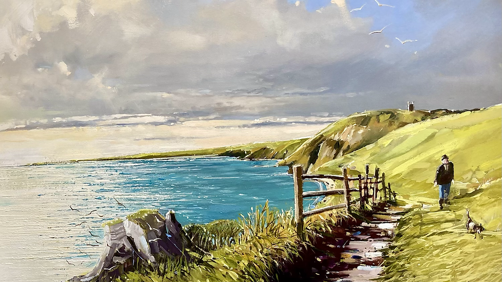 ON THE FOOTPATH HOOKEN CLIFF ABOVE BEER Original Oil Artist Barry Seaforth