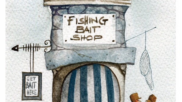 BAIT BOX Original Watercolour Artist Mike Jackson