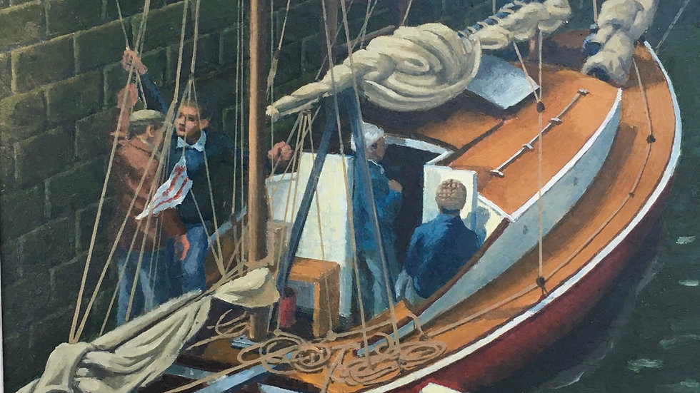 PREPARING TO SAIL AT POLPERO Original oil on  board  Artist Sidney Homer  1