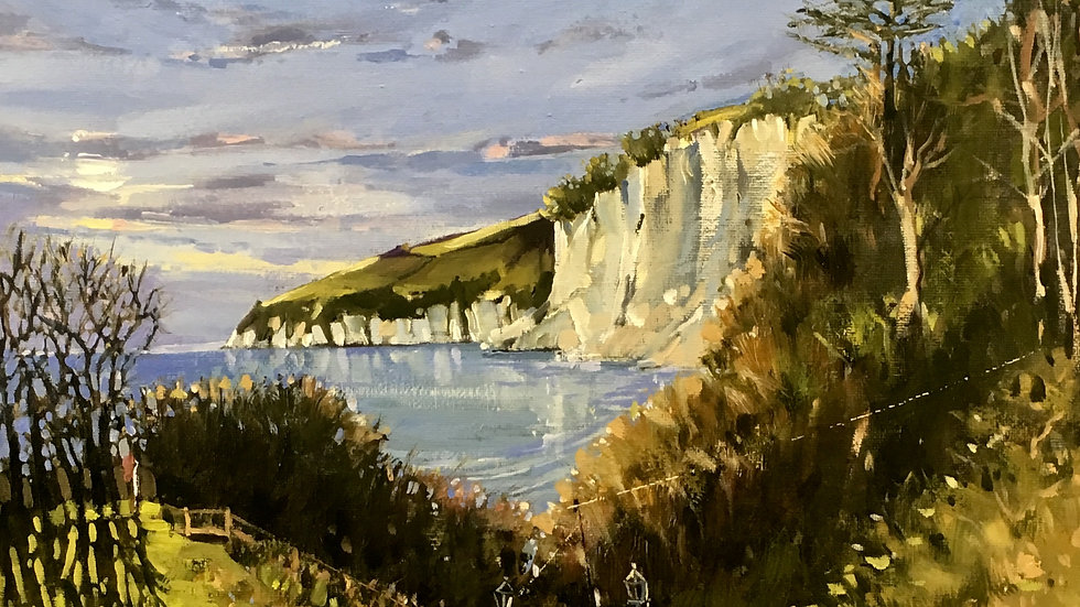 THE VIEW CHINE TO BEER HEAD Original Oil on board Artist Barry Seaforth