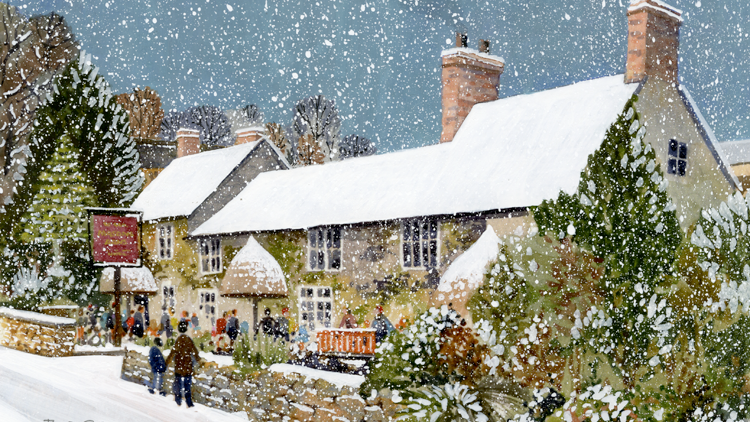 MASONS ARMS BRANSCOMBE IN WINTER Original Multimedia Artist Bob Bradshaw
