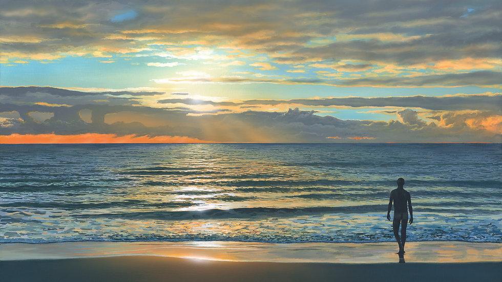 MORNING SWIM Original acrylic Artist: Richard Bizley