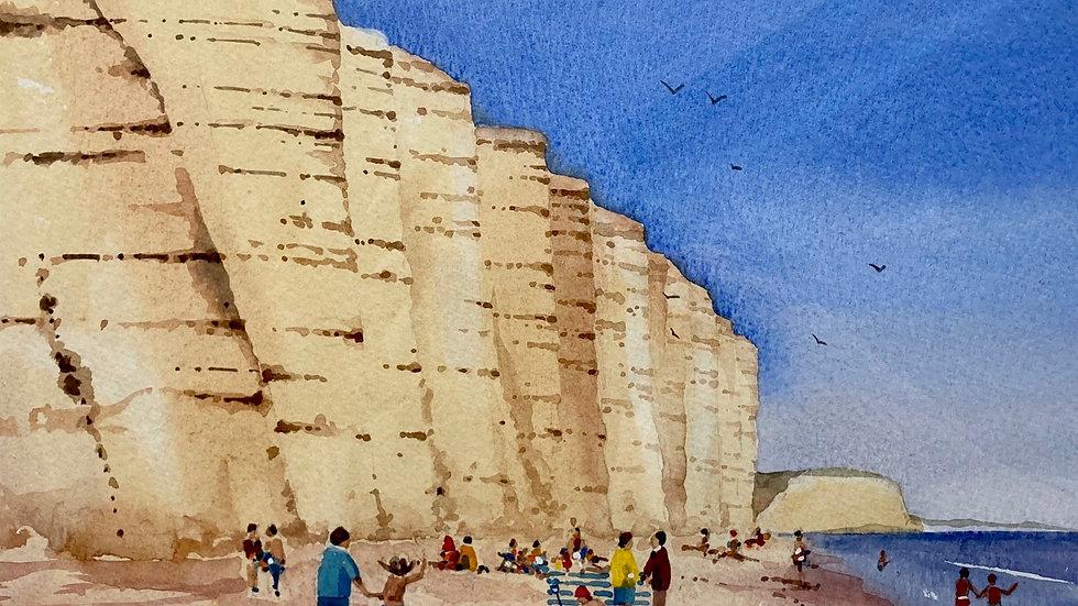 EAST CLIFF (west bay) Original Watercolour Artist: BOB BRADSHAW