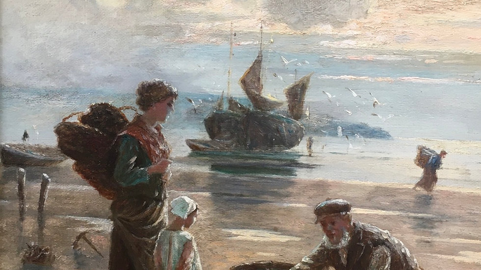 THE FISHERMANS RETURN artist W Richards 1910 - 1930s Oil on Canvass