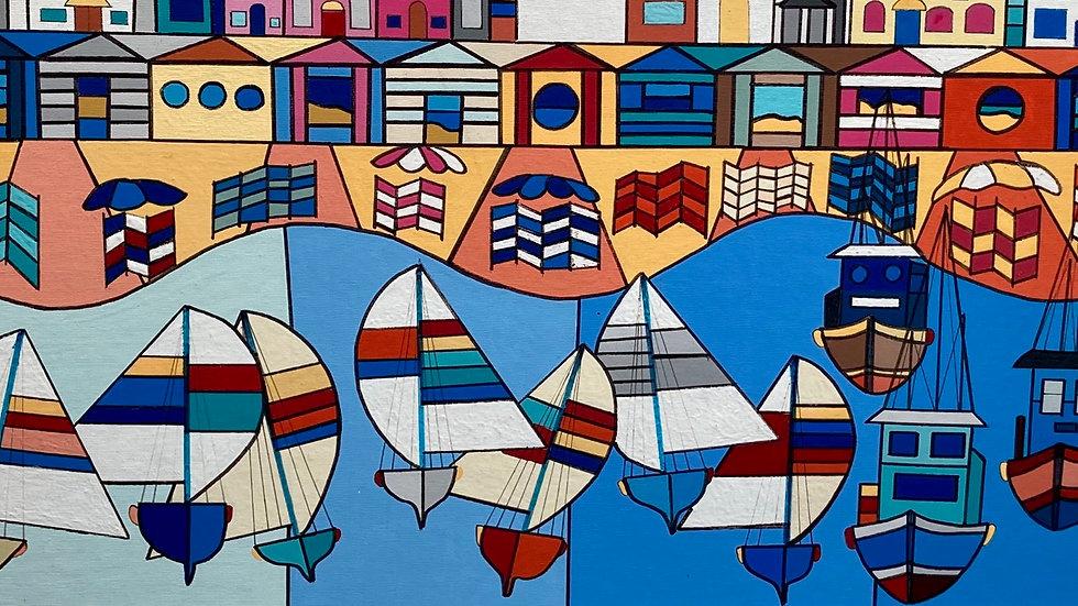 BRIXHAM ORIGINAL  Acrylic on board Artist George Hutchinson