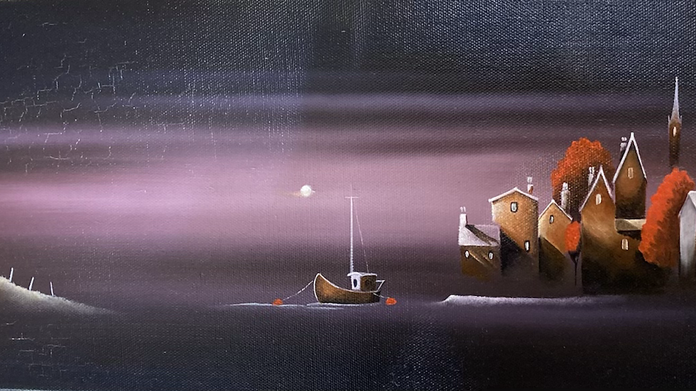 LILAC NIGHTS Original Oil on canvas Artist MIKE JACKSON