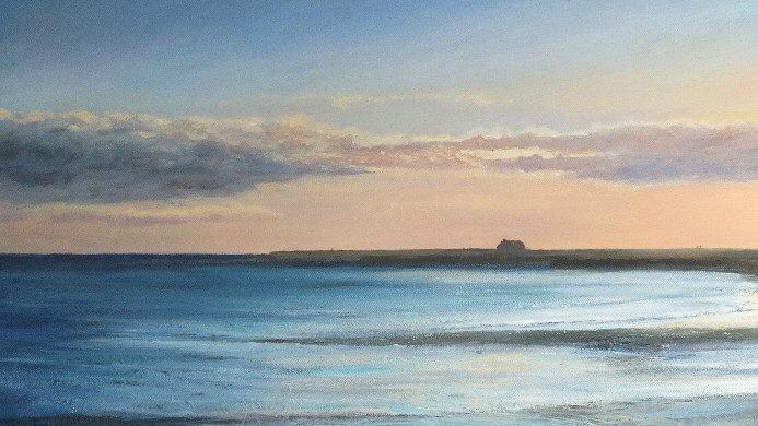 LOW TIDE LYME REGIS Original Acrylic on canvas Artist: Sue Lewin