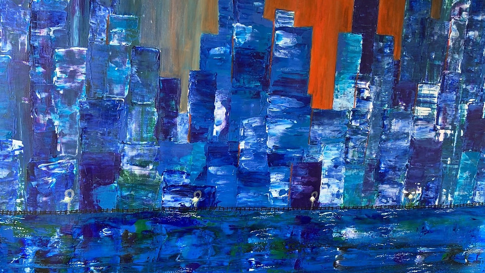 SUNSET CITY - Oil and Acrylic by Fiona Lindsay