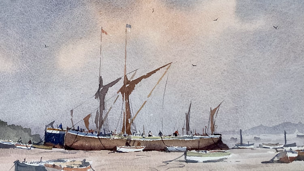 THAMES BARGES AT REST ON THE MEDWAY Artist Sidney Cardew (RDSA / Wapping Group)