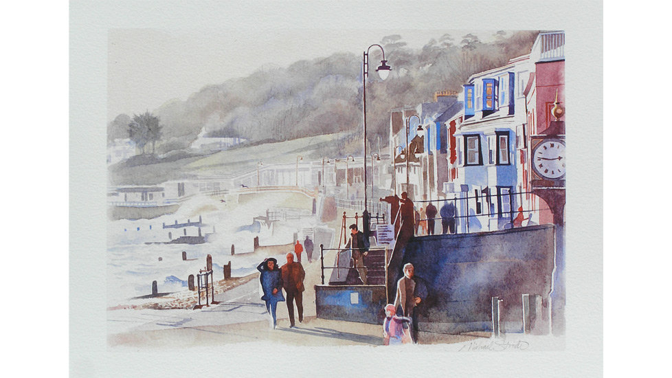 WINDY DAY IN LYME REGIS Giclee Fine Art Print Michael Stride