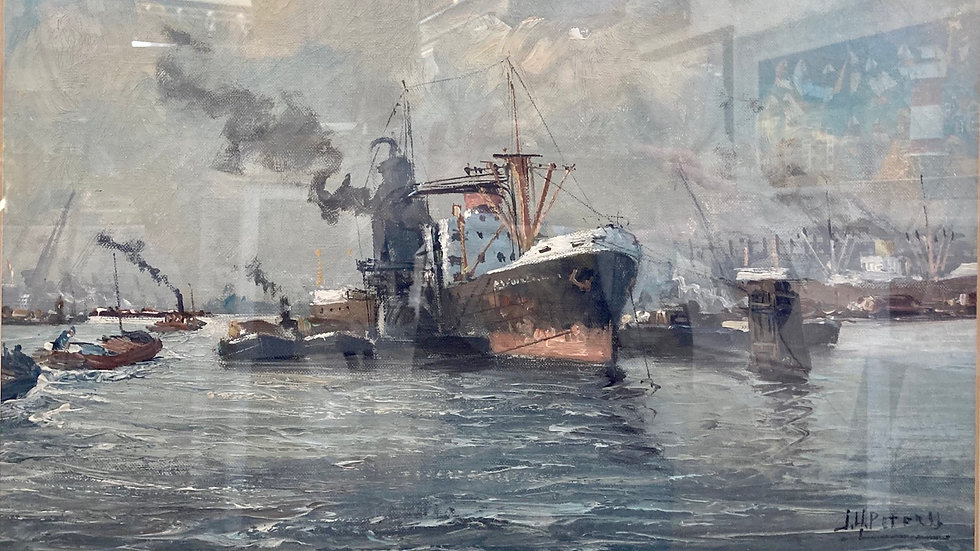 LOADING IN ROTTERDAM  HARBOUR Original Oil on Canvas Artist JH Peterss