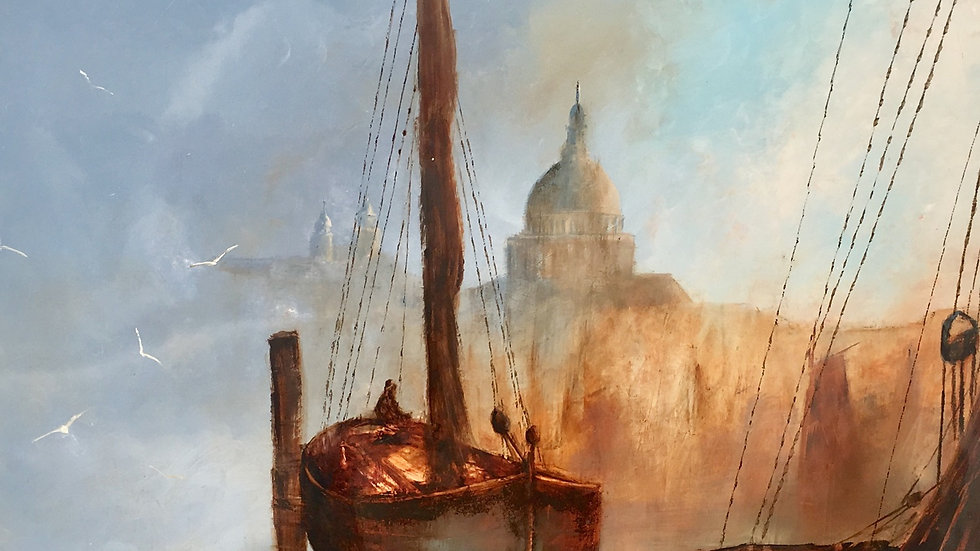 TRAWLER AT ST PAULS Original oil & Bitumen Artist David Chambers