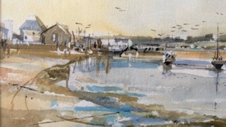 LOW TIDE AT EXMOUTH Original watercolour Artist Barry Seaforth