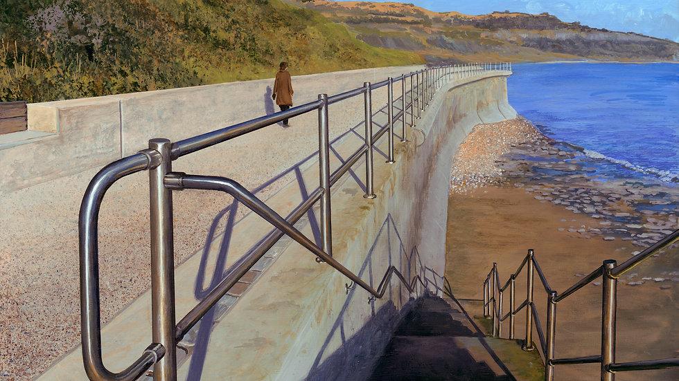 RECEDING RAILINGS Original acrylic on canvas Artist Richard Bizley