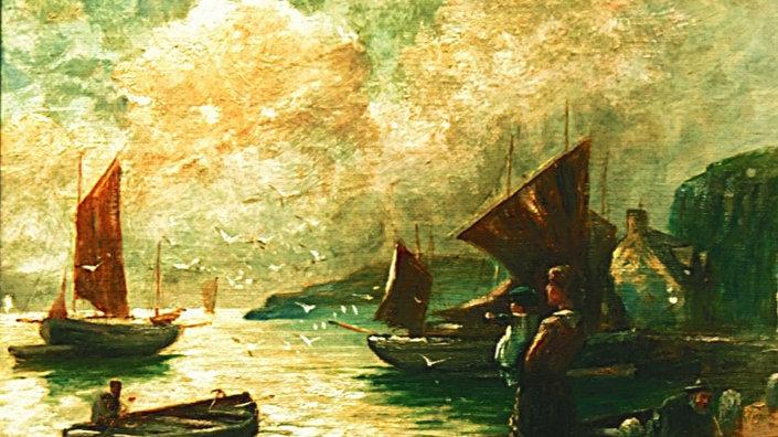 THE FISHERMANS FAREWELL Artist W Richards (1910)