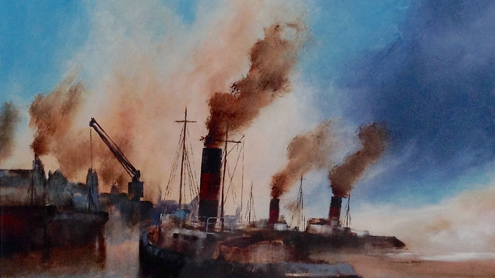 DOCKLAND POWER Original Oil & Bitumen Artist; David Chambers