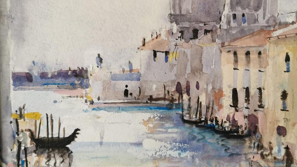 SALUTÉ GRAND CANAL VENICE Original framed watercolour Artist Barry Seaforth
