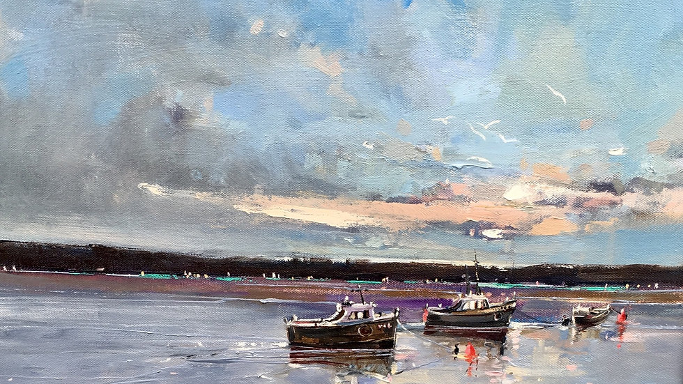 NIGHTFALL ON THE AXE  Original Oil on canvas Artist Barry Seaforth