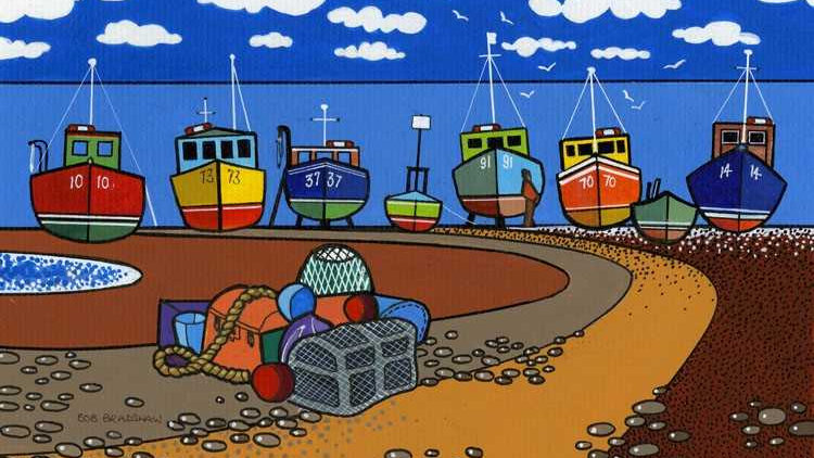 BOATS ON BEER BEACH Artist: Bob Bradshaw