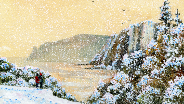 VIEW TO BEER HEAD IN WINTER Original Multi Medias Artwork Artist Bob Bradshaw