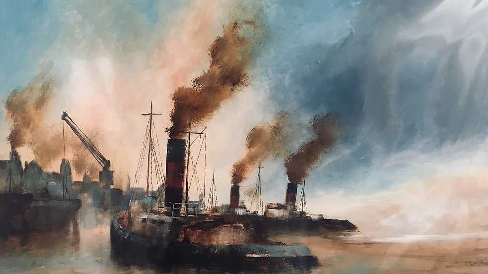 PORT TUGBOATS AT FULL STEAM Original oil and Bitimen Artist David Chambers