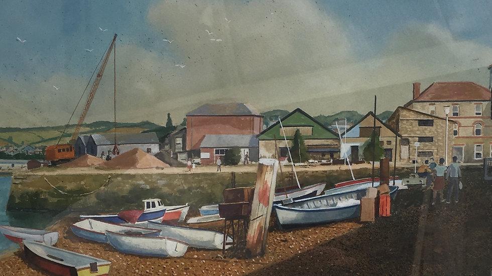 WATERFRONT TEIGNMOUTH  Original watercolour Artist: Sidney Homer  RBSA 1912-1993