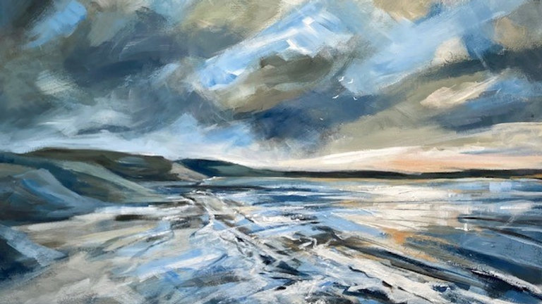 CHESIL BEACH Artist Ali Foxcroft original Acrylic on canvas