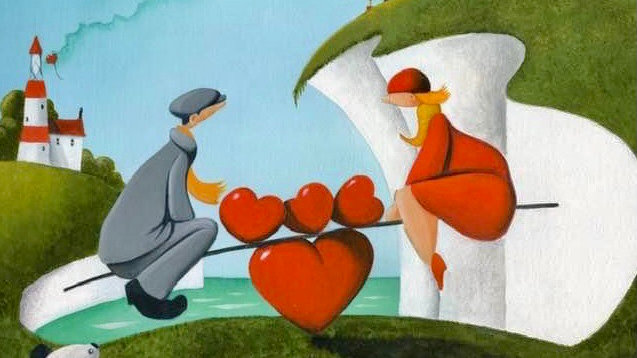 GAME OF LOVE Original Oil on canvas Artist MIKE JACKSON