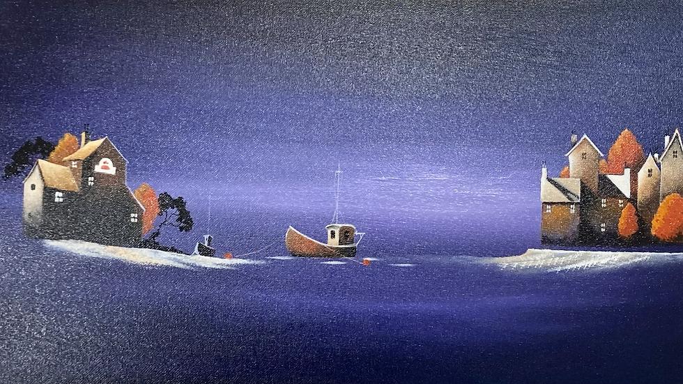 SLEEPY SHORES Original Oil on board Artist Mike Jackson