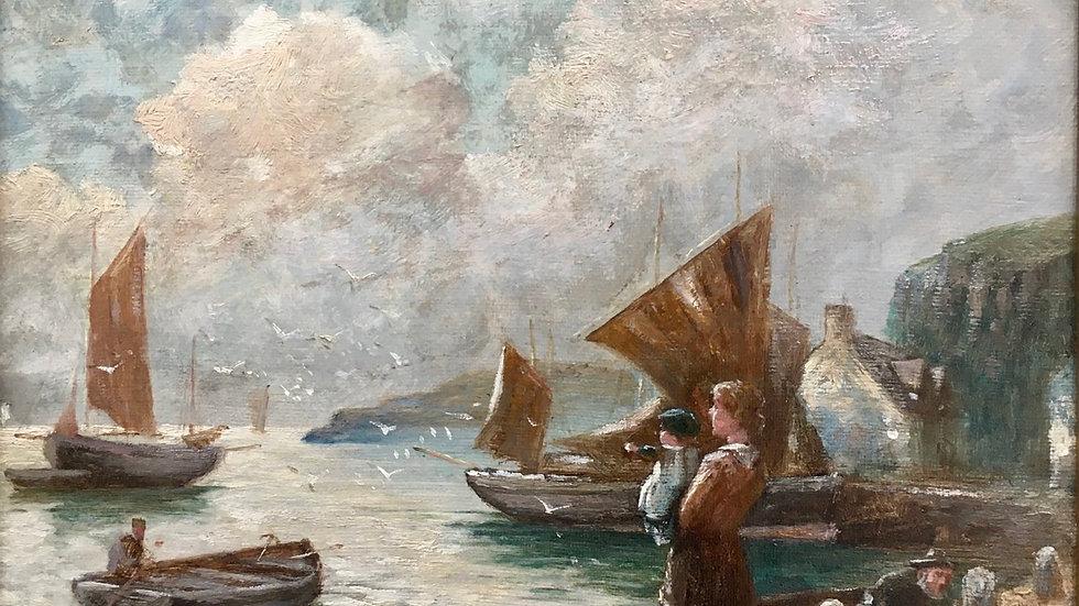 THE SAILORS FAREWELL Artist W Richards 1910 - 1930s Oil on canvas