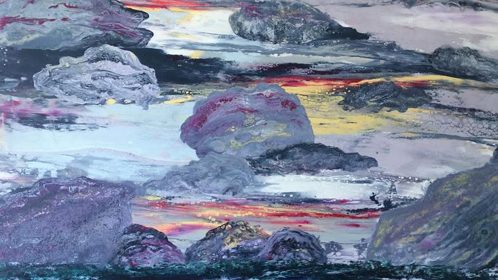 EYES OF THE STORM Original Acrylic on canvas Artist: Fiona Lindsay